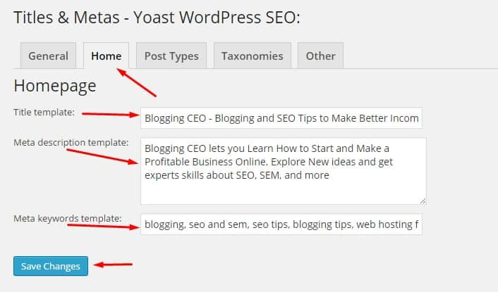 Writing area for Title and Meta in Yoast Plugin