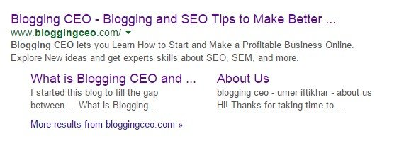 Blogging ceo Appearance in Search Engine