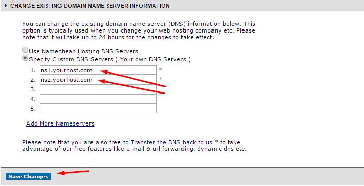 change dns on namecheap