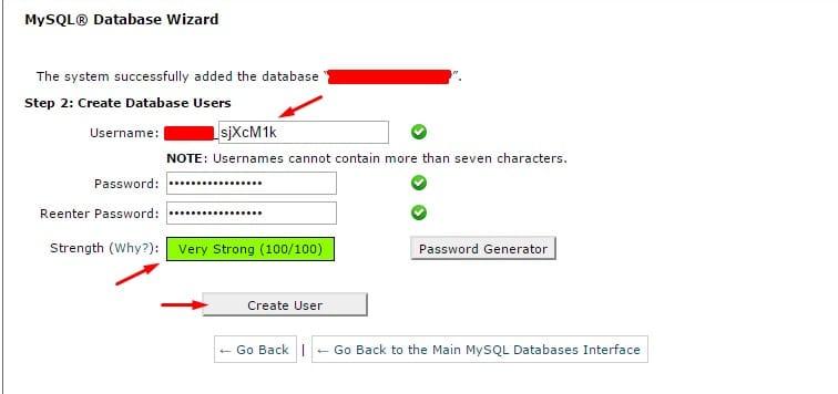 database user name