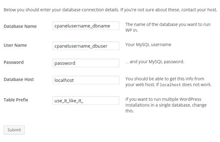 enter database information