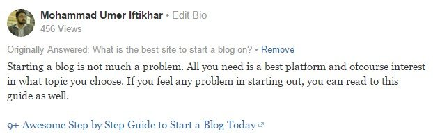 my answer on quora to get backlink