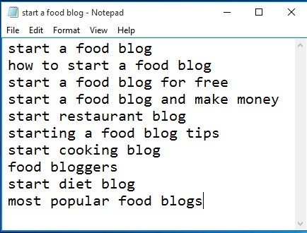 start a food blog notepad file