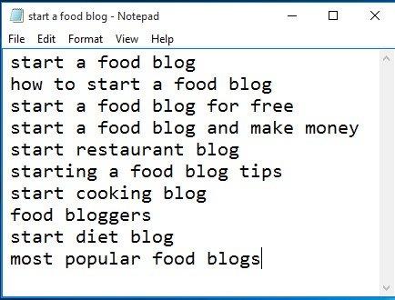 start a food blog notepad file