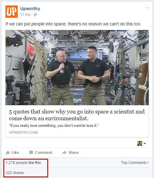 upworthy facebook page result