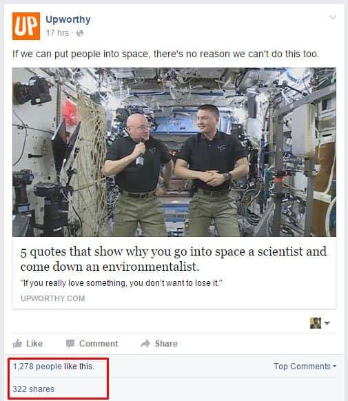 upworthy facebook page result