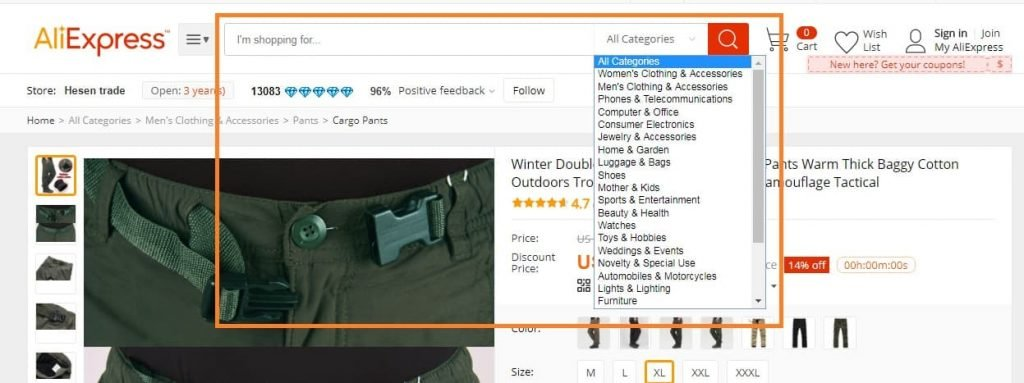 aliexpress search function