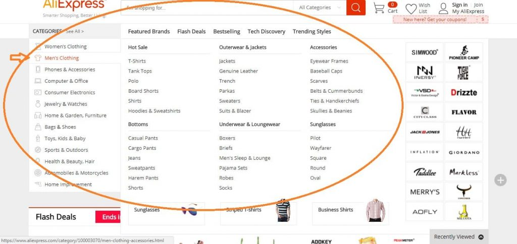 aliexpress subcategories